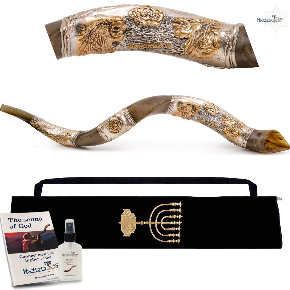 HalleluYAH Silver Plated Shofar Set - Lions Of Judah 32''-35'' Kudu Horn Kosher Shofar– Traditional Ancient Musical Instrument For Jewish Spiritual Ceremonies – Authentic Curved Made In Israel