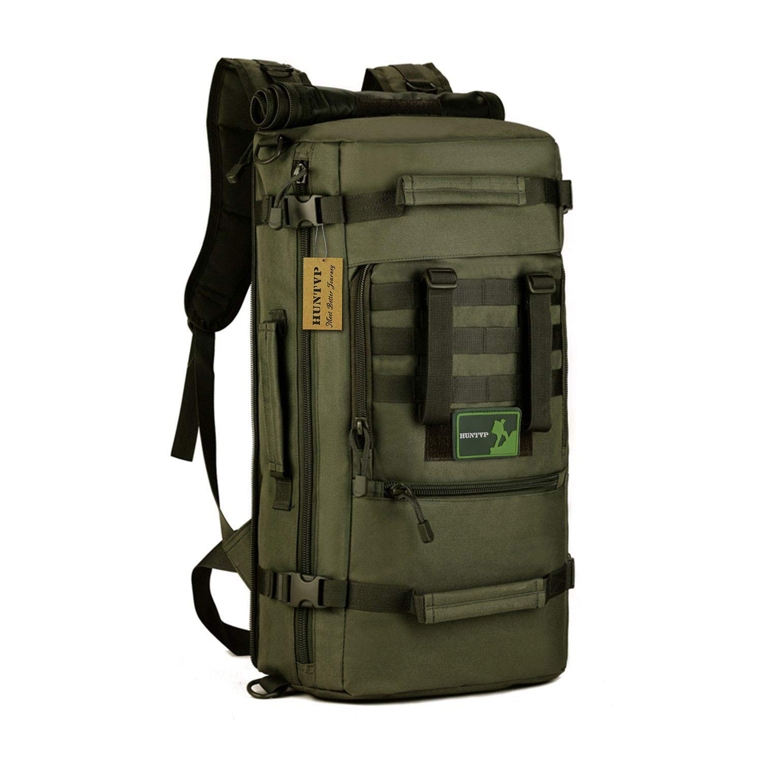 Army Green Predector Plus Tactical Military Molle Assault Backpack 3 Way 50L Rucksack Duffle Tote Bag for Hunting Cycling Camping Trekking