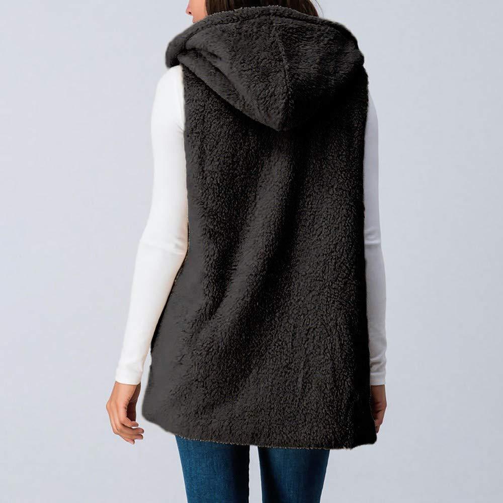 Women Lady Faux Vest Cami Fur Solid Hooded Top Hat Outwear Sleeveless Pockets Warm Waistcoat Black by iLUGU (Image #2)