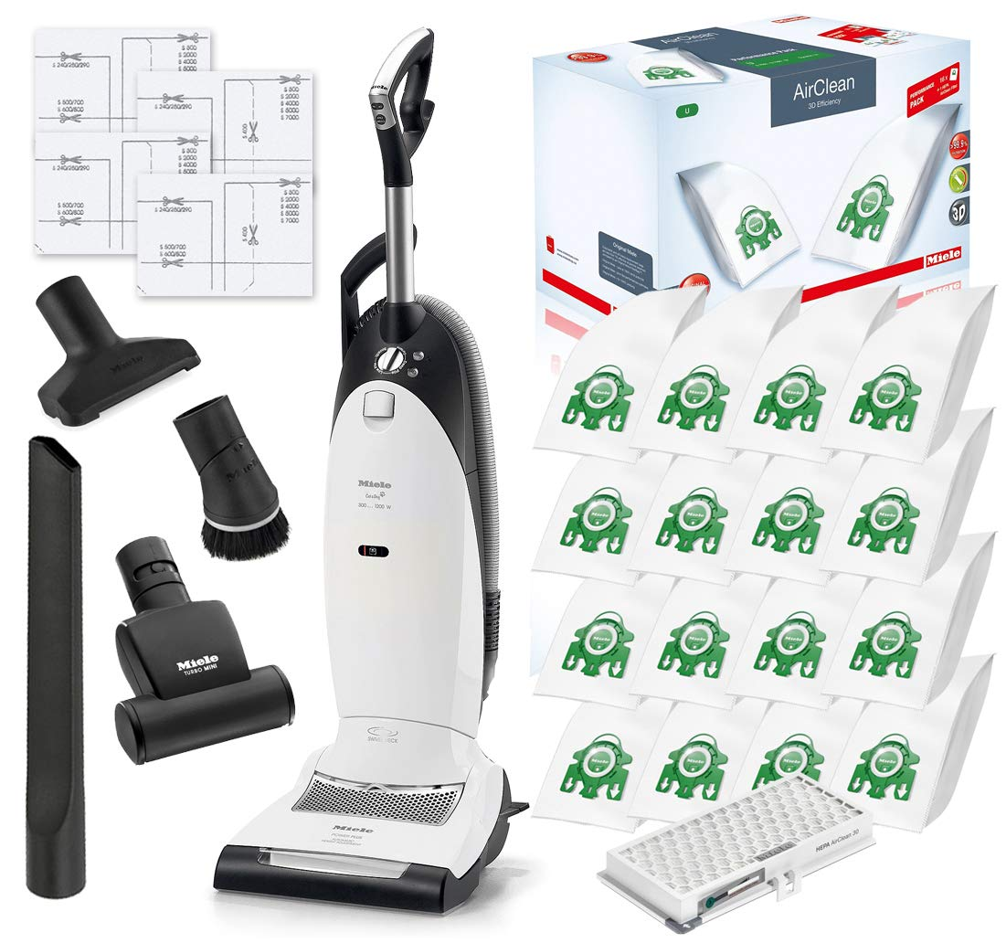 Miele Cat and Dog U1 Dynamic Upright HEPA Vacuum Cleaner with STB101 Turbo Brush Bundle - Includes Performance Pack 16 Type U AirClean Genuine FilterBags + Genuine AH30 HEPA Filter