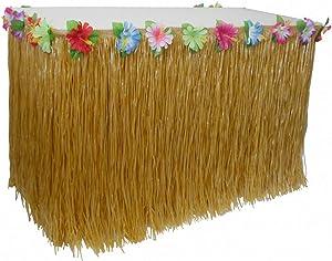 AniiKiss Table Grass Skirt for Hawaiian Hula Luau Party Decoration Table Decor Supplies (Festucine, 9 ft)