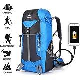 Hiking Backpack 55L, Aolvo Internal Frame Travel Bag USB Charging Nylon Backpack Outdoor Climbing Rock Climbing Camping Waterproof Bags For Men/Women