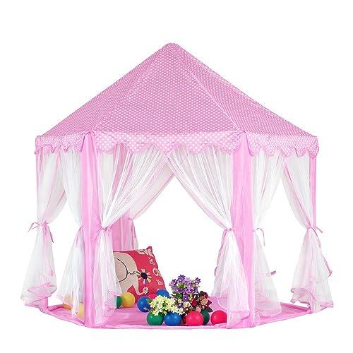 Pericross-Noël Tente de Princesse Maison de Jouet pour les 3-4Filles Château Hexagonal Féerique Grande Salle de Jouet pour Filles(rose)