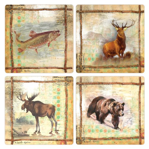 CoasterStone AS2580 Absorbent Coasters, 4-1/4-Inch, Call of The Wild Trout Elk Moose Bear, Set of 4 (Set Moose Coaster)