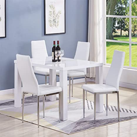 Swell Goldfan High Gloss White Dining Table And 4 Pu Leather Chairs Set Modern Rectangular Kitchen Dining Room Table Chairs Set For Home Kitchen Living Room Ibusinesslaw Wood Chair Design Ideas Ibusinesslaworg