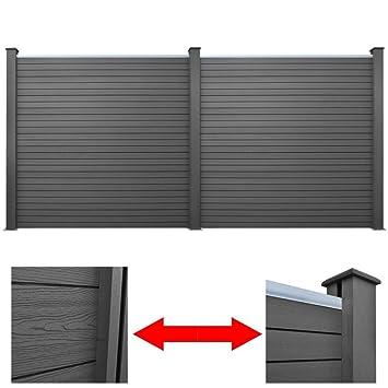 Senluowx Pack Of 2 Garden Fence Panel Wpc Grey 361 Cm Amazon Co Uk