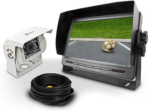 Carmedien Cm Rfsn2 Rückfahrsystem Mit Weißer Rückfahrkamera 7 Monitor Rückfahrvideosystem Transporter Wohnmobil Lkw Auto