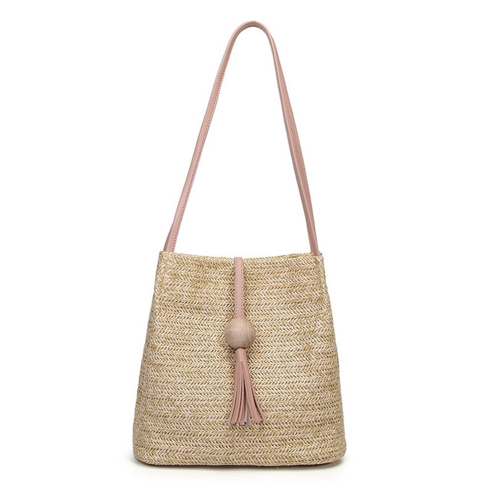 QZUnique Women's Summer Straw Bucket Tote Bag Straw Woven Handbag Tassel Shoulder Bag