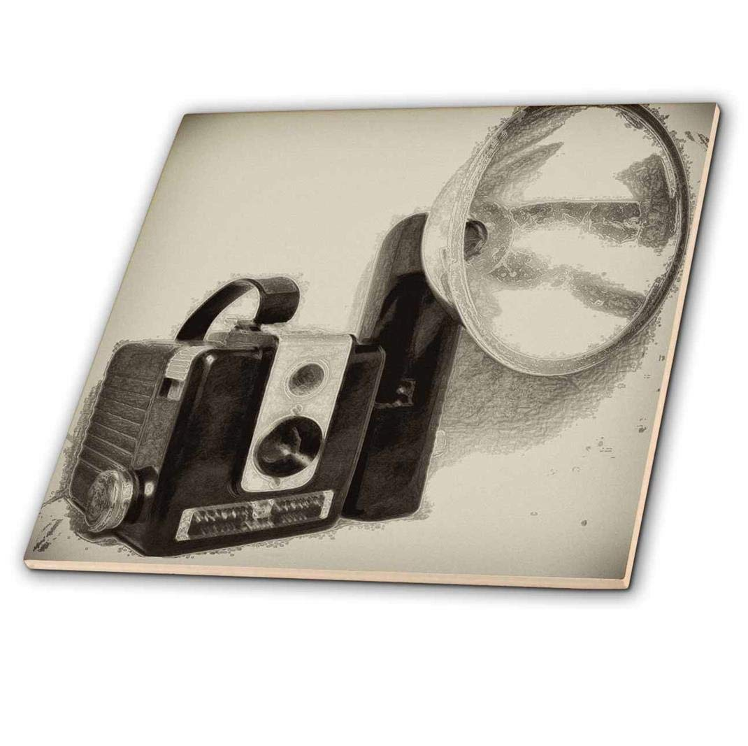3dRose ct/_20728/_4 Picture of A Vintage 1950S Camera with Bulb Flash-Ceramic Tile 12-Inch
