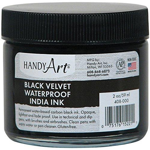 Handy Art® Black Velvet India Ink Glass Jar, 2 oz