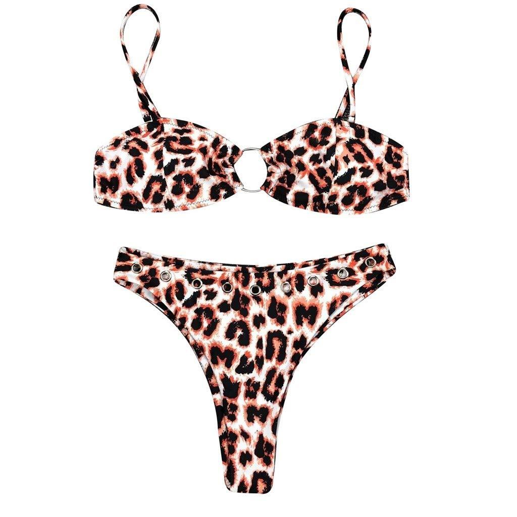 Dorical Bikini De Moda para Mujer Sujetador De Bikini Hebilla Flor Estampado Leopardo Push-up Sujetador con Relleno Dividir Traje De Baño De Dos Piezas: ...