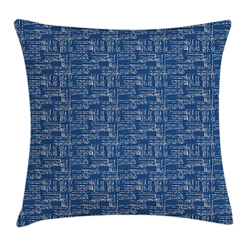 HFYZT Blue and White Throw Pillow Cushion Cover, Watercolor Style Tie Dye Effect Indonesian Grunge Composition, Decorative Square Accent Pillow Case, 18 X 18 Inches, Cobalt Blue and White ()