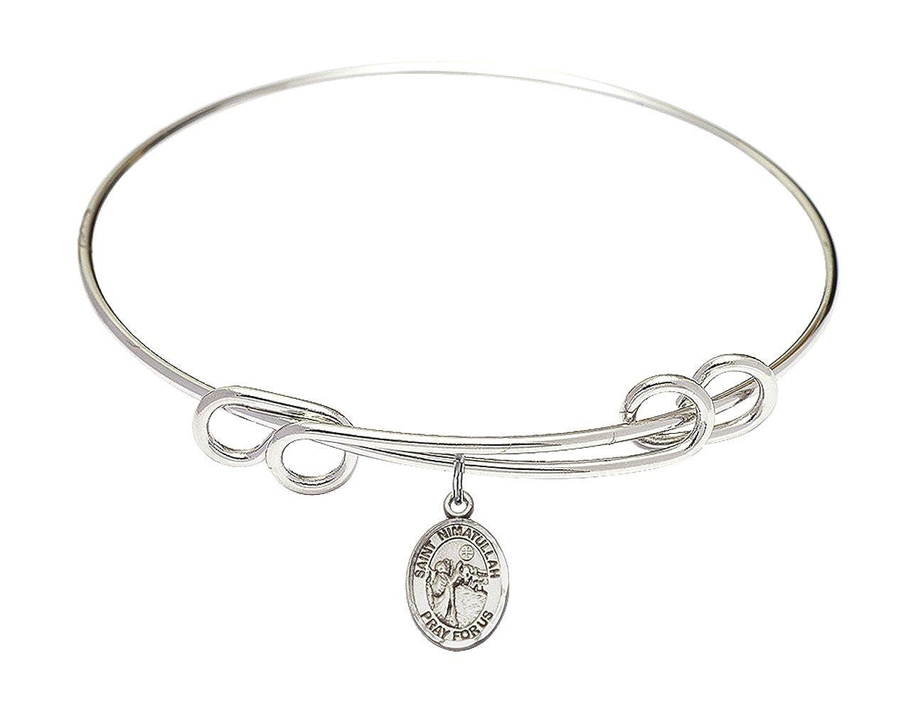 Bonyak Jewelry Round Double Loop Bangle Bracelet w//St Nimatullah in Sterling Silver