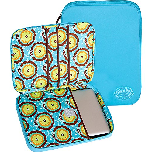 Nola Laptop Wrap (Amy Butler Nola Cushioned Laptop Sleeve,Buttercups Turquoise,one size)