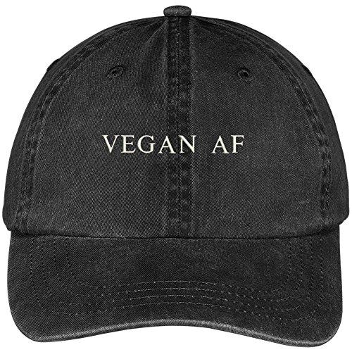 Pigment Dyed Washed Cotton Cap - Trendy Apparel Shop Vegan AF Embroidered Pigment Dyed Washed Cotton Cap - Black