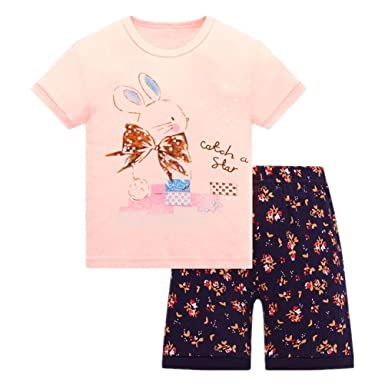 d678a52f2b Amazon.com  Girls Pajamas Short Cotton Pjs Toddler Clothes Kids Sleepwear  Set  Clothing