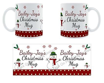 Bailey-JAY de Navidad taza – nombre de cerámica personalizada taza