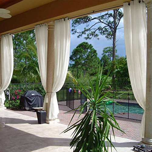 Cololeaf Semi-Sheer Curtains Indoor Outdoor For Living Room | Bedroom | Library | Classroom| Hotel | Club - Nickle Grommet - Beige 84