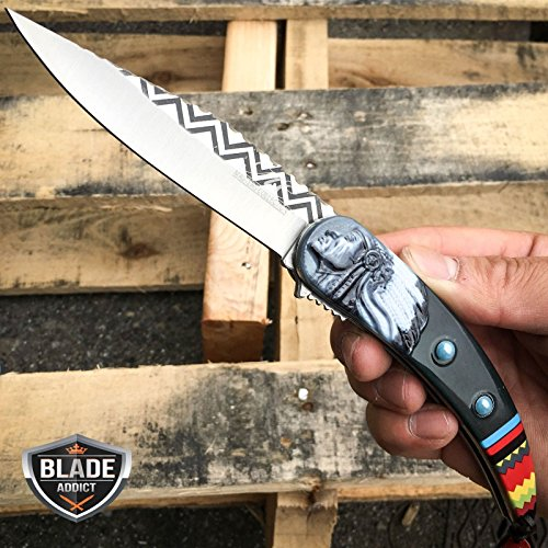 """Only US 8.5"""" Native American Indian Spring Assisted Open Folding Pocket Knife BLACK EDC"""