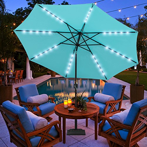Sundale Outdoor 11FT 40 LED Lights Aluminum Patio Market Umbrella with Hand Push Tilt and Crank, Garden Pool Solar Powered Lighted Parasol, 8 Ribs, Blue by Sundale Outdoor
