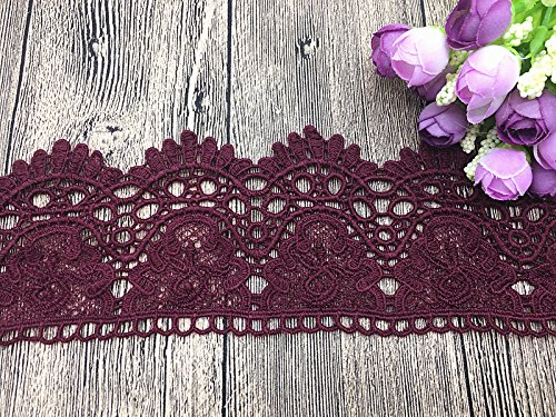 9CM Width Europe Crown Pattern Inelastic Embroidery Lace Trim,Curtain Tablecloth Slipcover Bridal DIY Clothing/Accessories.(4 Yards in one Package) (Wine red)