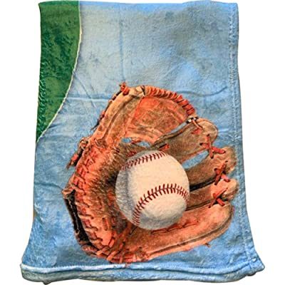"Baseball Fleece Throw Blanket - Kids Toddler Plush Fleece 40"" x 60"" - Sleep Away Camp : Home & Kitchen"