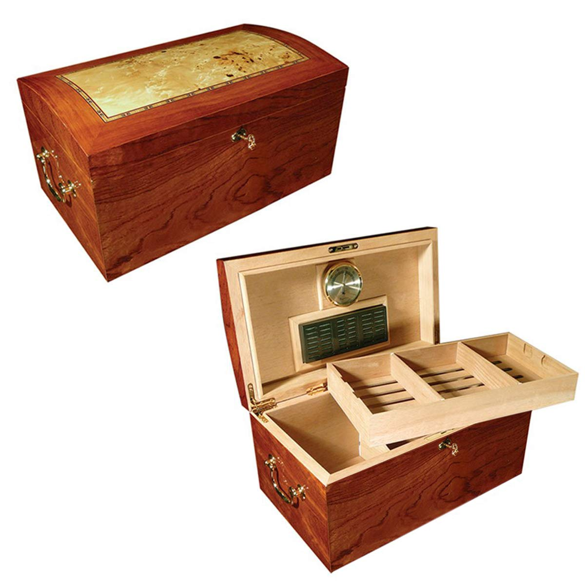 Prestige Import Group - The Broadway Cigar Humidor - Color: Lacquer Burl w/Mappa Wood Inlay