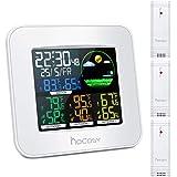 HOCOSY Estacion Meteorologica Interior Exterior, Termómetro Higrómetro con 3 Sensores, Reloj Despertador, Digital, Pantalla a Color, Uso en el Hogar(Blanco)