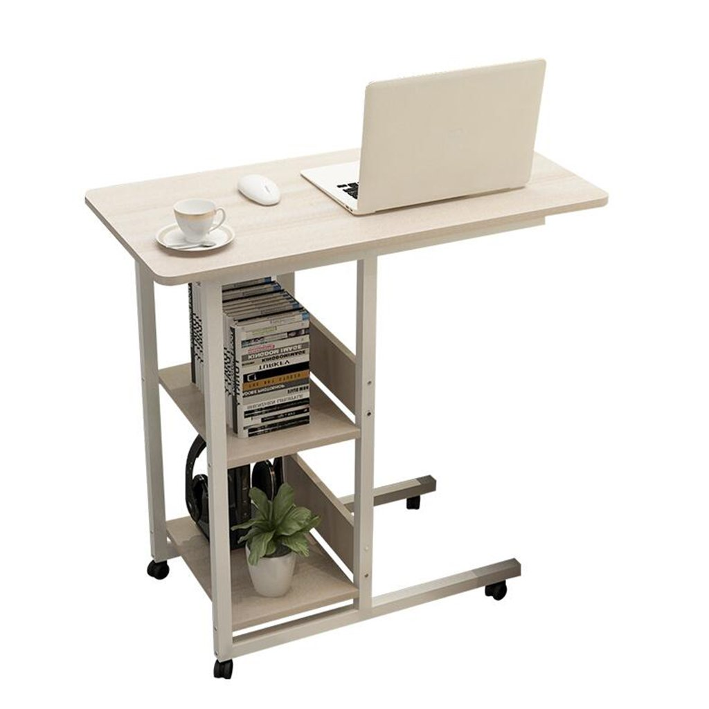 A-Fort Table Simple Desk Multi-Function Mobile Home Bedroom Bookshelf Bedside Table Lazy Laptop Desk Bed Using Wheeled Table