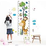 ウォールステッカー 身長計 身長測定 UIOT 動物 猿 ジラフ 木 子供部屋 幼稚園 学校 玄関 壁デコ ベッドルーム 目盛り 壁の装飾 子供の成長 記念品 進学 誕生日 ギフト 測定範囲 101-170cm ホワイト (動物版)