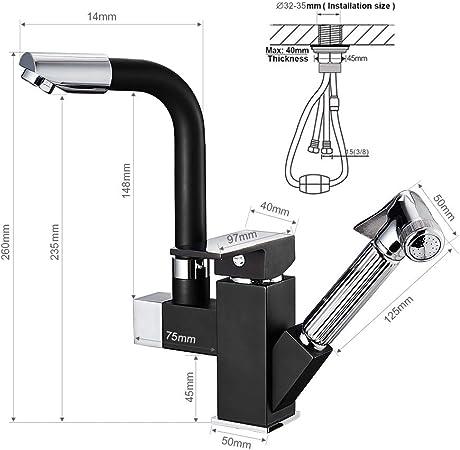 Auralum Mitigeur d/'/Évier Noir Carr/é Bec Extractible Multifonctionnel Rotation /à 360/° Robinet de Cuisine Laiton Pour /Évier 1 Bac et 2 Bacs