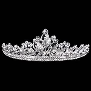 Vinsco Crystal Tiara Crown Headband Headpiece Rhinestone Leaf Hair Jewelry Decor for Women Ladies Little Girls Bridal Bride Princess Birthday Wedding Pageant Prom Party with Pin Holes Sliver(Style 4)