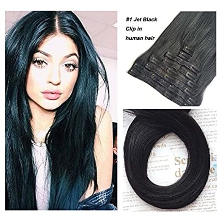 Jet Black Clip in Human Hair Extensions Cathy Straight Remy Clip in Extensions 60g 12 inch Color #1