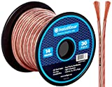 InstallGear 14 Gauge AWG 30ft Speaker Wire Cable - Clear