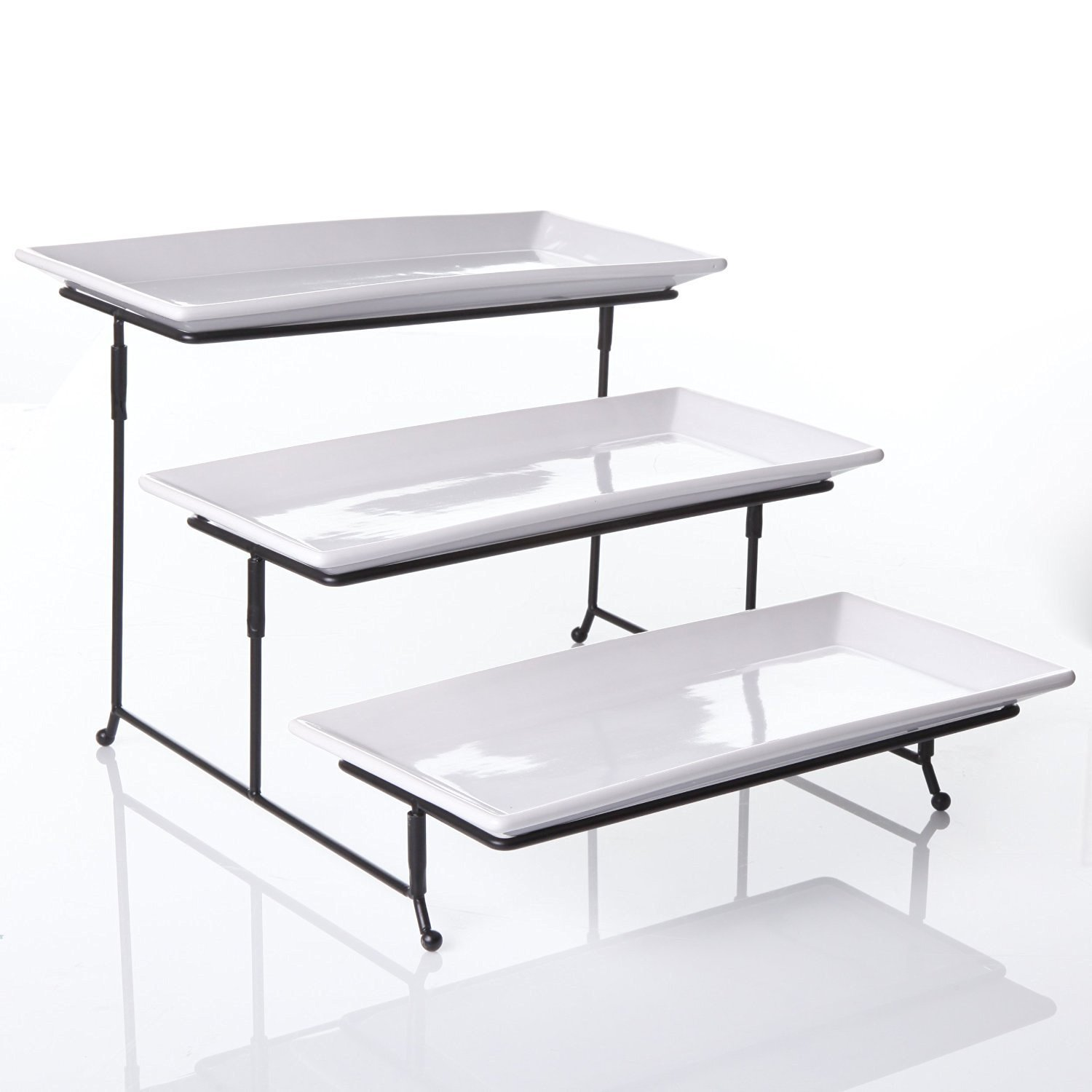Amazon.com Porcelain 3 Tier Serving Tray - Rectangular Serving Platter - Appetizer Dessert Stand Rack White 12 inch Plates Kitchen \u0026 Dining  sc 1 st  Amazon.com & Amazon.com: Porcelain 3 Tier Serving Tray - Rectangular Serving ...