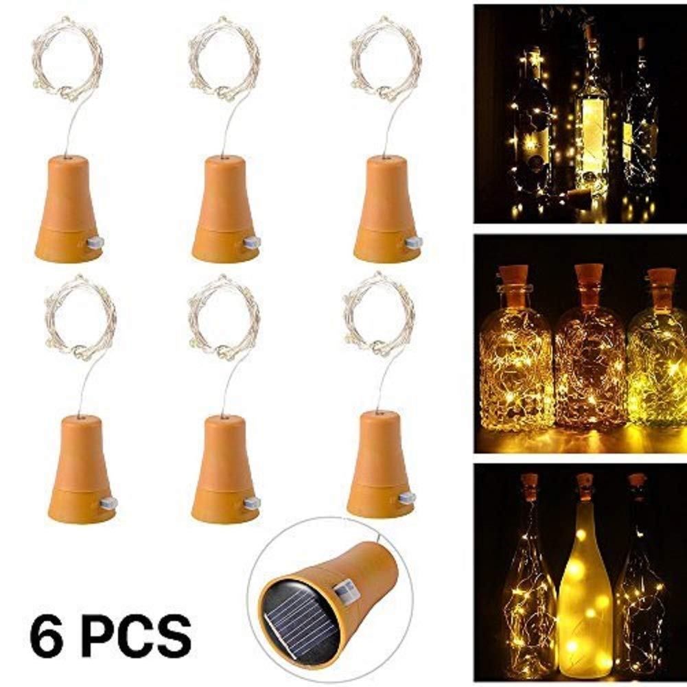 Solar Led Bottle Cork Lights, 1M Copper Wire String Lights with 10 Warm White LED Bulbs for Bottle DIY Decor, Outdoor BBQ, Gathering, Party, Wedding, Holiday[Pack of 6] Sxstar