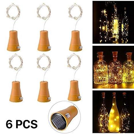 6pcs 10 LED Solar Botella de Vino de Corcho Luz de Hadas con Cable de Cobre
