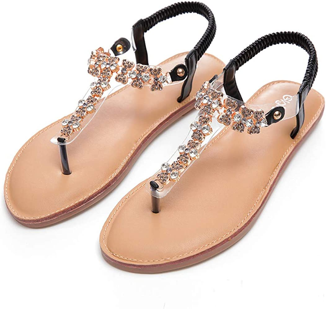 Details about  /New Women Flats Holiday Clip Toe Thongs Rhinestone Bohemia Slipper Sandals Comfy