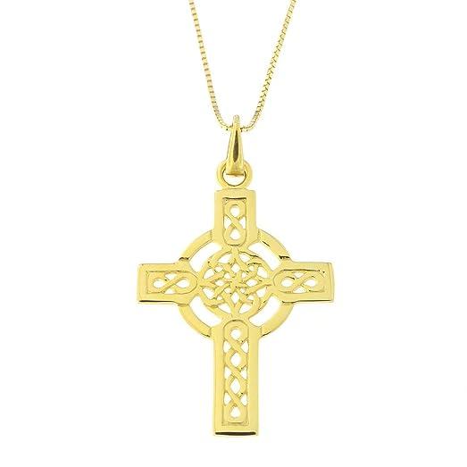 Amazoncom 14k Yellow Gold Celtic Cross Pendant Necklace pendant
