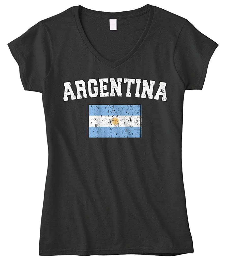 Amazon.com: Cybertela Womens Faded Distressed Argentina Flag Fitted V-Neck T-Shirt: Clothing