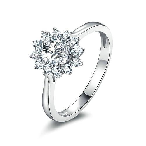 daesar bañado en plata anillos para mujer anillos de ...