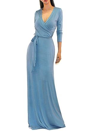20d4e2eb32 Vivicastle Women s Solid V-Neck 3 4 Sleeve Faux Wrap Waist Long Maxi Dress