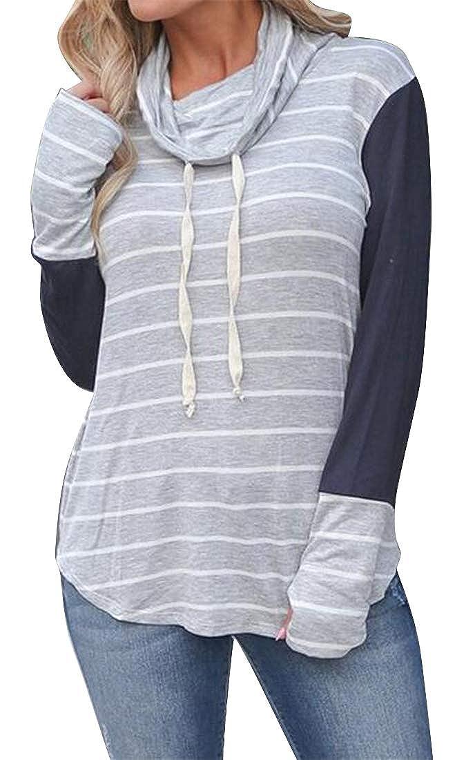 Jotebriyo Womens Thumb Hole Turtle Neck Casual Drawstring Color Block Stripe Pullover Sweatshirt