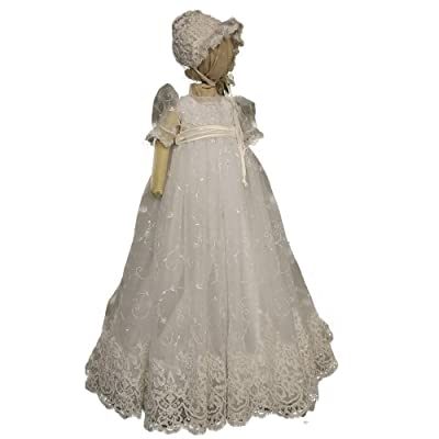 Fenghuavip Round Collar White Lace Infant Baby-girls Christening Gown