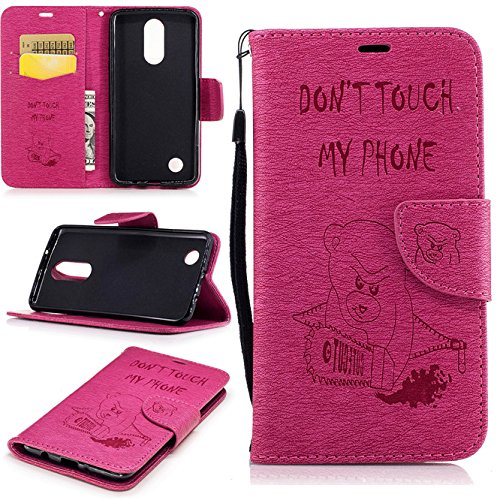 LG Aristo Case, LG K8 2017 Case, Ngift [Rose] PU Leather with Kickstand [Wrist Strap] [Don't Touch my Phone] Flip Wallet Case Cover for LG Phoenix 3/LG Aristo/LG LV3 MS210 /LG K8 2017