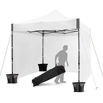 FinFree 10x10 FT Pop Up Canopy Tent Commercial Instant Canopy with Roller Bag, 6 Walls and Weight Bags, White : Garden & Outdoor