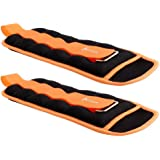 Portzon Ankle/Wrist Weights, Durable Arm Leg Weights with Adjustable Strap for Fitness,(1 Pair) 3.3Lbs, Orange-6.6 Lbs