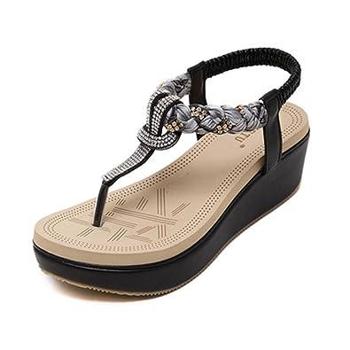 YOUJIA Damen Klippzehe Slingback Sandalen Mit Keilabsatz Strass Sandaletten