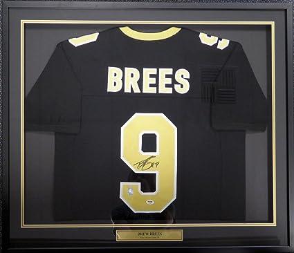59a5cd49 New Orleans Saints Drew Brees Autographed Framed Black Jersey PSA ...
