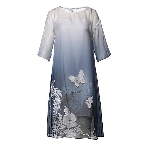 Vestido De Mariposa Impresa Cuello Redondo De Las Mujeres De Seda